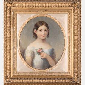 American School (19th Century) Portrait Of A Girl, Oil