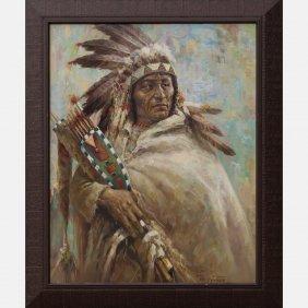 Troy Denton (b. 1949) Indian Chief, Oil On Canvas,