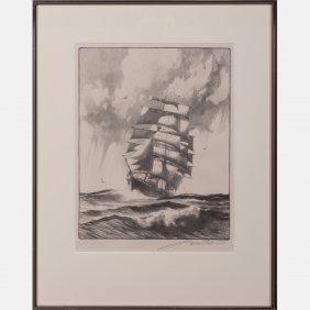 Gordon Grant (1875-1962) Mid-ocean, Lithograph,