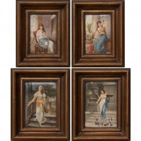 A Group Of Four Continental Painted Porcelain Plaques,