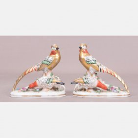 A Pair Of Continental Porcelain Pheasants, 19th
