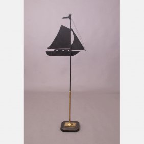 A Painted Metal Sailboat Weathervane, 20th Century.