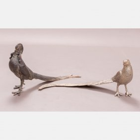 A Pair Of Silver Plated Table Pheasant, 19th Century.