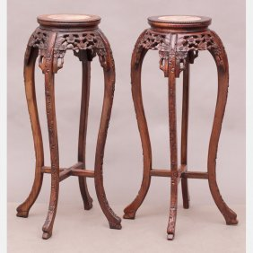 A Pair Of Chinese Carved Hardwood Stands With Marble