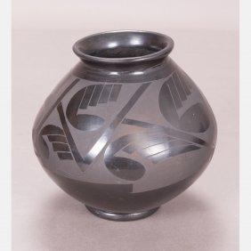 A Santa Clara Style Ceramic Vase, 20th Century,