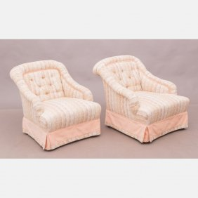 A Pair Of Contemporary Upholstered Slipper Chairs, 20th