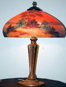 VINTAGE PITTSBURG REVERSE PAINTED TABLE LAMP