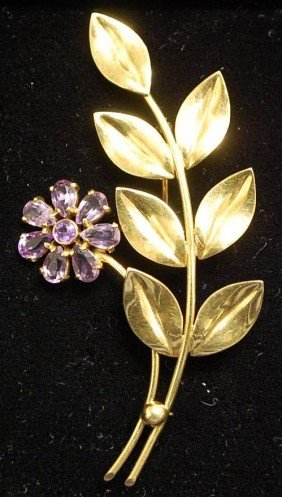 TIFFANY 14K GOLD AMETHYST PIN