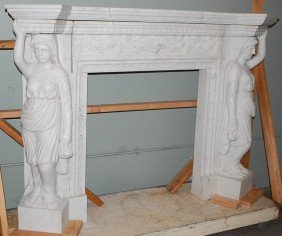 CARVED WHITE MARBLE FIGURAL MANTEL