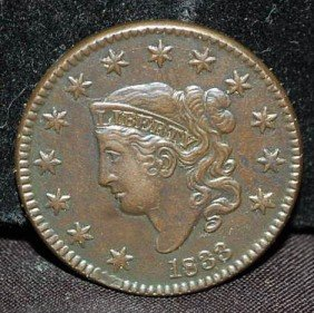 US LARGE ONE CENT 1833 COIN