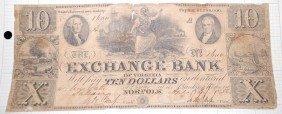 TEN DOLLAR EXCHANGE BANK NOTE APRIL 3. 1856