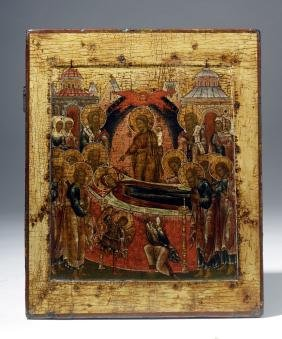 Exhibited 18th C. Russian Icon - Dormition Of Virgin