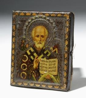 19th C. Miniature Russian Icon - St. Nicholas Of Myra