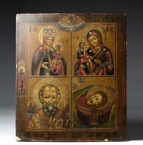 18th C. Russian Wooden Icon - Old Believers