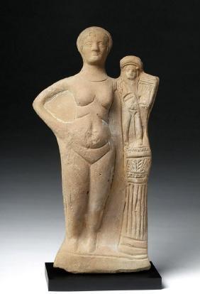 Hellenistic Greek Terracotta Statue - Aphrodite & Eros