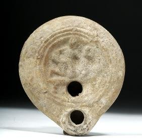 Roman Pottery Oil Lamp - Lovers' Embrace