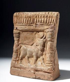 Romano Egyptian Pottery Shrine W/ Apis Bull