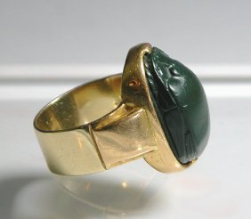 Egyptian Jasper Scarab Gold Ring