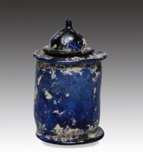 A Roman Glass Pyxis And Cover, Dark Blue