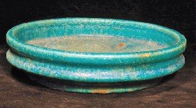 An Egyptian Turquoise Faience Pottery Dish