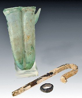 A Group Of Roman Glass Items
