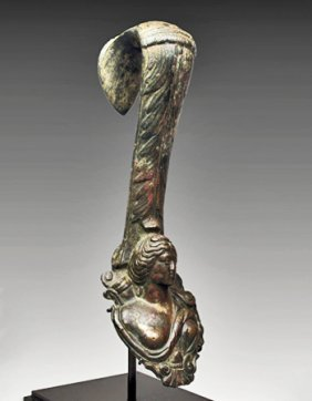 A Roman Bronze Amphora Handle Of Diana