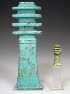 A Very Large Egyptian Blue Glazed Djed Pillar