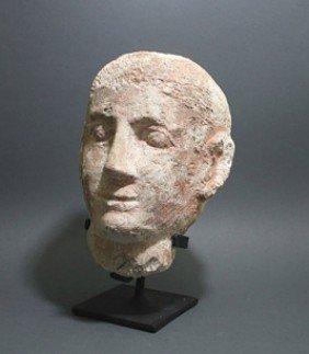 A Life-Sized Limestone Egyptian Coptic Head