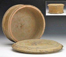 A Greek Attic Pottery Lidded Pyxis