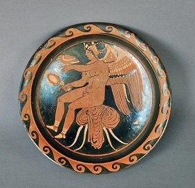 A Nice Greek Red Figure Plate - Eros