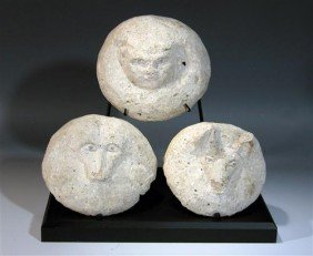A Set Of 3 Egyptian Canopic Jar Lids
