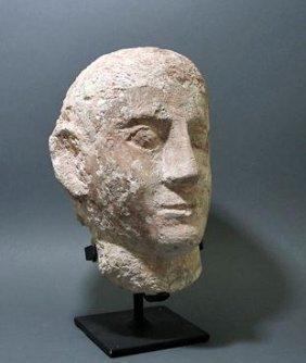 A Life-Sized Limestone Coptic Head Of A Male