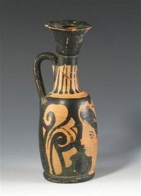A Greek Apulian Lekythos With Lady Of Fashion