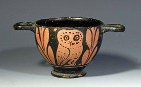 A Greek Attic Owl Skyphos