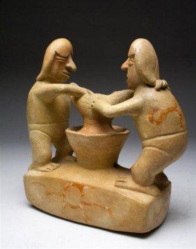A Moche I Vessel - 2 Figures Making Chicha / Beer