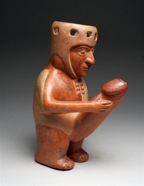 A Humourous Moche Erotic Drinking Vessel