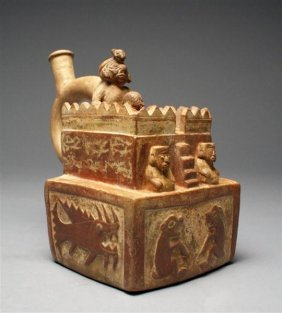 A Moche Stirrup Vessel Of A Fortress On 3 Levels