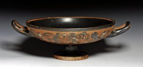 A Greek Attic Black Figure Stemmed Kylix