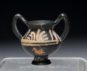 A Greek Xenon Minature Krater With Swan