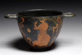 An Ancient Greek Red Figure Skyphos