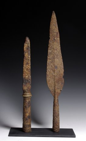 A Greek Iron Spear And Sauroter - Rare!