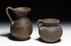 2 Published Greek / Daunian Blackware Pottery Jugs