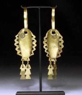 Pair Of Chavin High Karat Gold Earrings, Fish Form