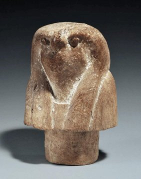 Ancient Egyptian Wood Canopic Lid - Qebsentenuef