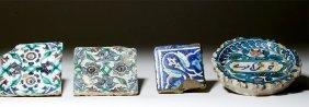 19th C. Persian Glazed Tiles (4)