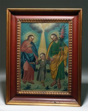 Framed 19th C. Mexican Tin Retablo - La Sagrada Familia