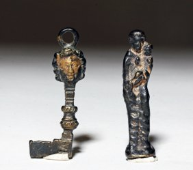 Pair Of Byzantine Bronze Objects - Key And Statuette