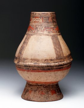Large Costa Rican Polychrome Footed Urn