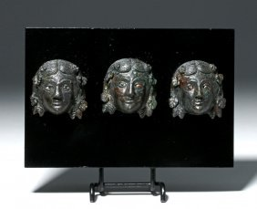 Trio Of Roman Bronze Appliques - Maenad Heads