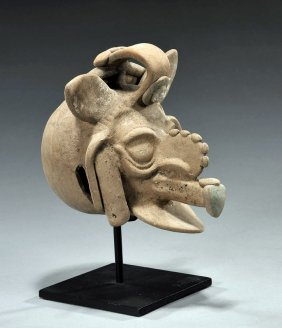 Rare Mayan Polychrome Bell - Depicting Mayan God